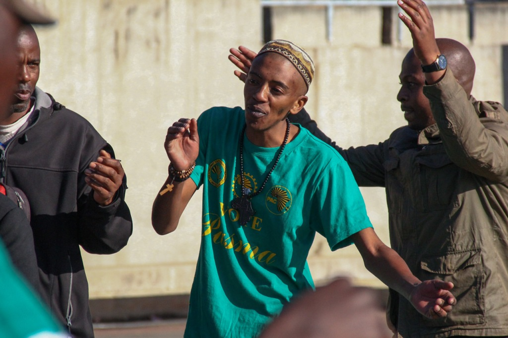 SOUTH AFRICA: Pan Africanist Congress of Azania (PAC) members and leaders sing their party anthem at Constitutional Hill, Hillbrow, Johannesburg celebrating Soweto Day on Tuesday, 16 June 2015. The event was aimed to honour and commemorate Zeph Mothopeng who died in June 16, 1976. © JABULILE PEARL HLANZE